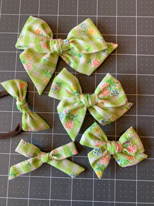 Vintage Green Flocked Gingham with Multi Colored Flowers
