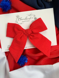 Magnolia Bow - Red Crinkle Gauze on CLIP