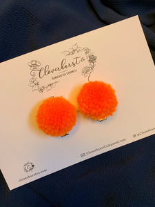 Clips - Pom Clip Pigtails - Orange MINI 1""