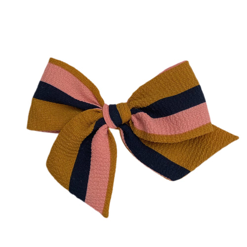 Mustard and Navy Stripe Crepe