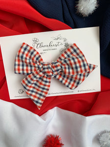 Large Pinwheel - Red and Navy Gingham
