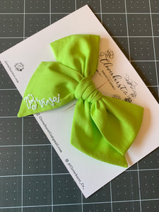 "Green - Embroidered Heirloom Bow ""Brave"""