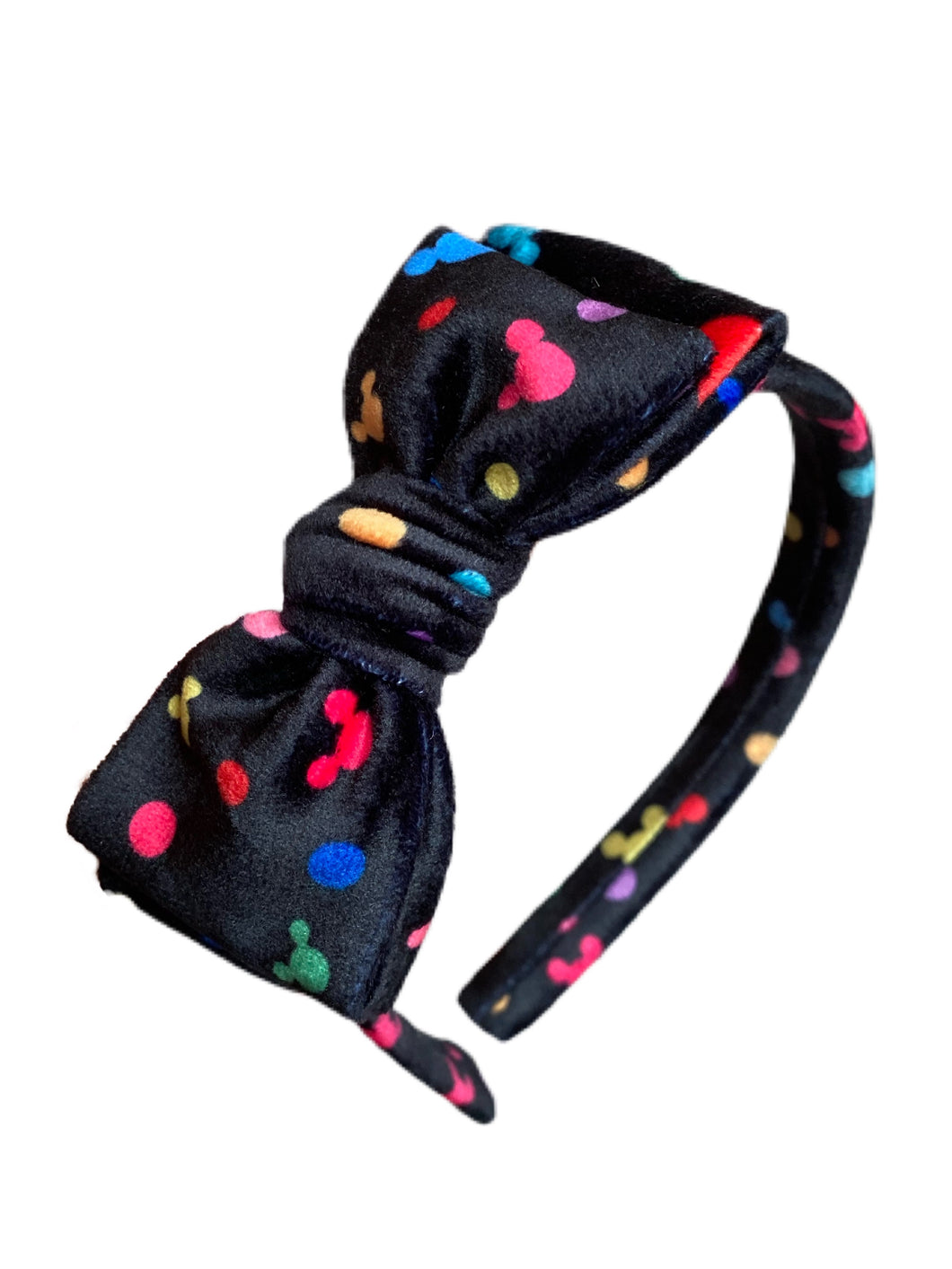PREORDER Mickey Dot Velvety Hard Headband With Bow