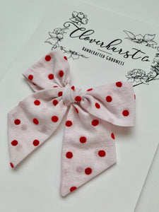 Vintage Flocked Red Dots - Magnolia