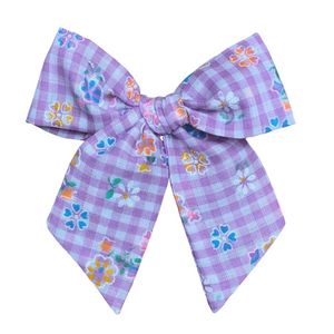 Vintage Purple Gingham with Flocked Multicolor Flowers