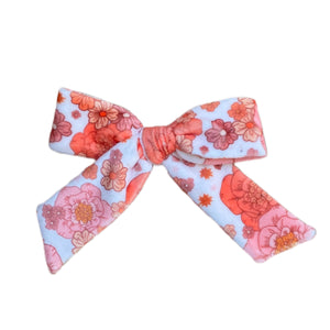 Pink Fall Floral Velvety Bows