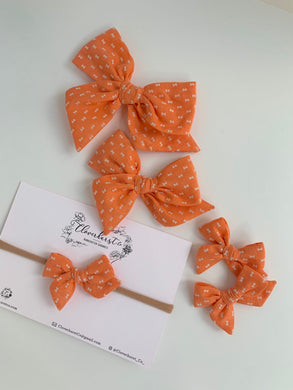 Orange Flocked Dotted Bows
