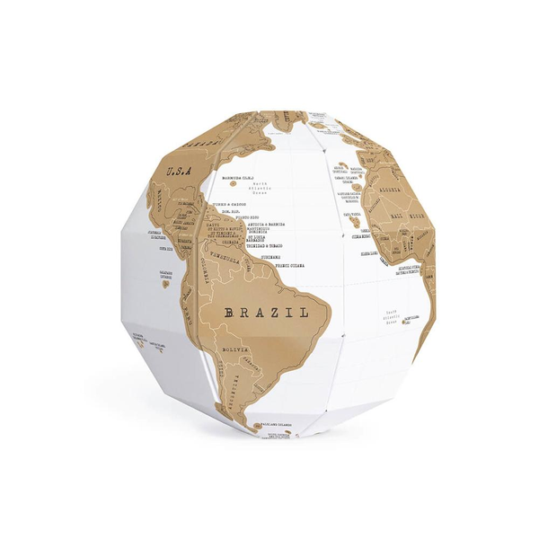 3D Scratch Globe with white background