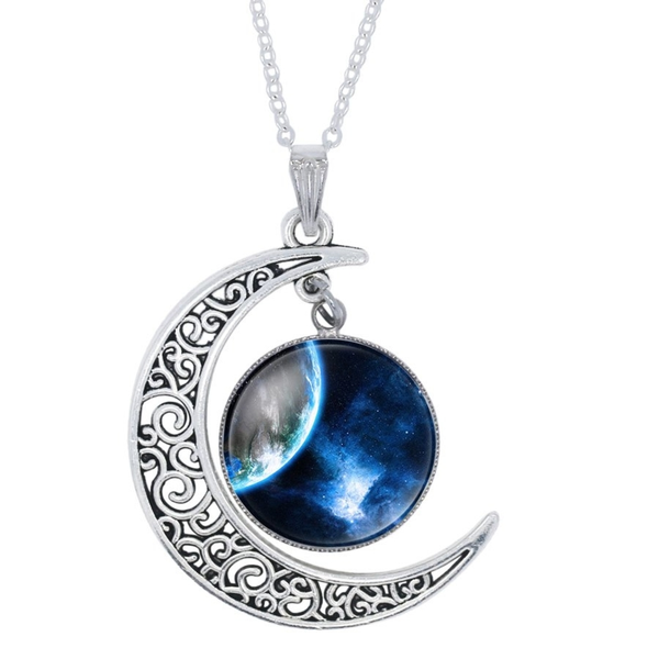 Moon Necklace with Edge of the World Pendant
