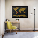 Personalised Travel Scratch Map mounted on the wall