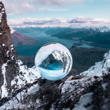 Photography Crystal Ball on top of a mountain