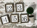 Family Number Framed Wood Sign