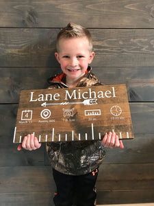 Custom Baby Growth Ruler Wood Sign