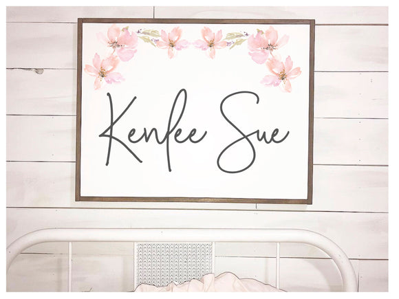 Floral Girl Name Framed Wood Sign