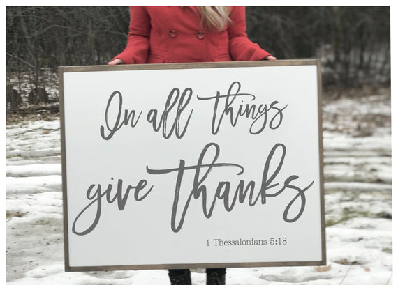 Give Thanks Verse Wood Framed Sign