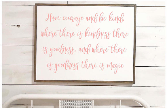 Cinderella Quote Wood Framed Sign