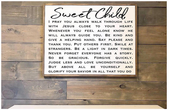 Prayer for Child Framed Wood Sign