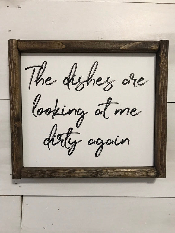 Dishes Looking at Me Framed Wood Sign
