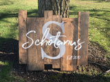 Custom Last Name Established Wood Sign