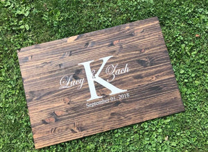 Custom Initial Guest Book Wood Sign