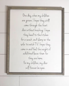 When my Children are Grown Framed Wood Sign