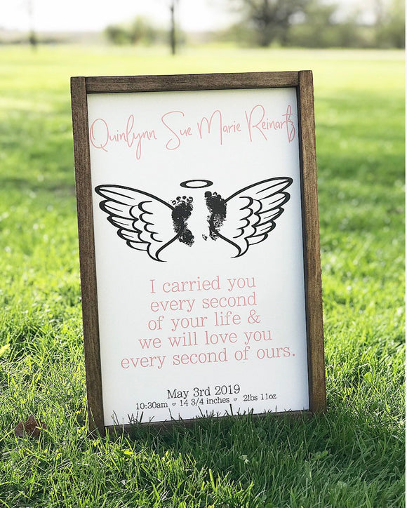 Custom Infant Loss Footprints Framed Wood Sign