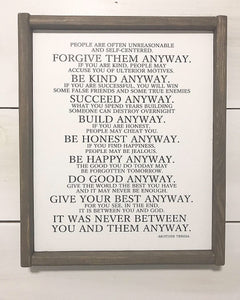 Mother Teresa Quote Framed Wood Sign