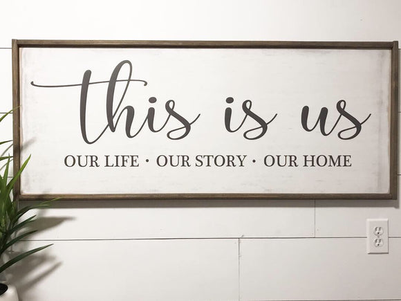 This Is Us Framed Wood Sign