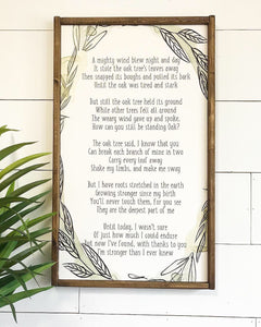 Oak Tree Poem Framed Wood Sign
