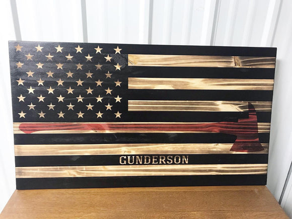Custom Firefighter American Flag Wood Sign