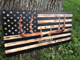 Rustic Deer & American Flag Wood Sign