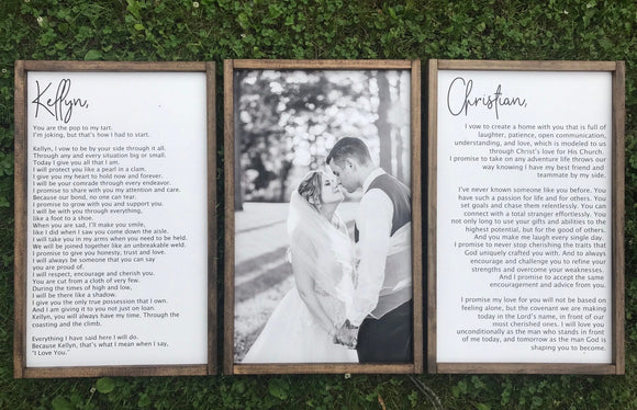 Custom Wedding Vows Framed Wood Sign