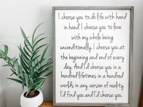 I'd Choose You Framed Wood Sign