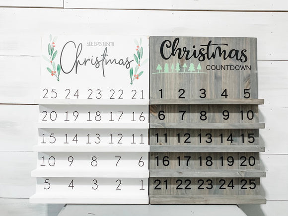 Countdown to Christmas calendar wood sign | Advent calendar