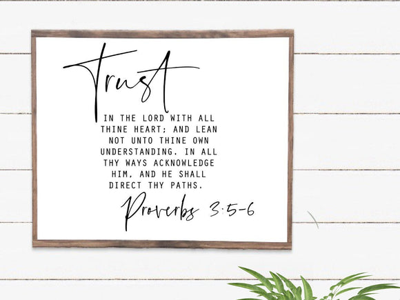 Trust in the Lord Framed Wood Sign