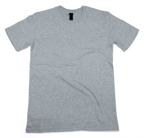 Grey adult tee with custom screen printed wording