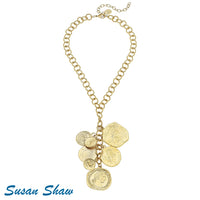 "Gold Multi Coin ""Y"" Necklace"