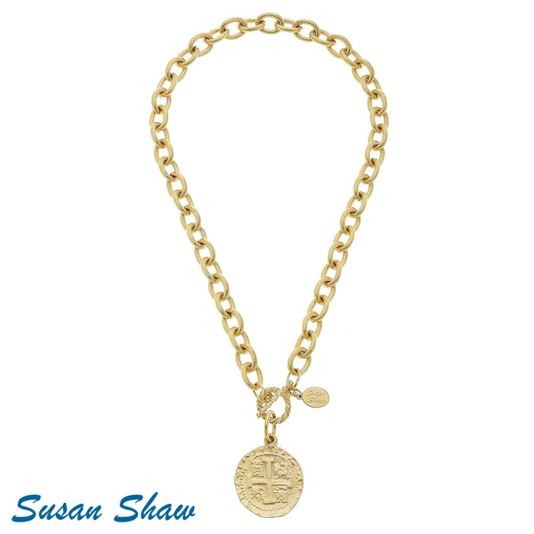 Matt Gold Toggle Coin Necklace