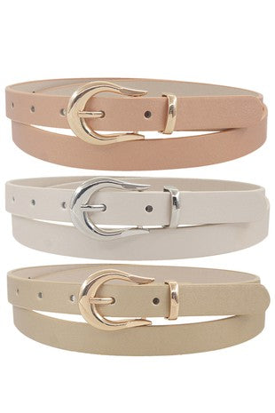 Metallic Faux Leather Belt