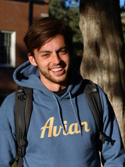 College Student Wearing Steel Blue Classic Avian Hoodie #color_steel-blue