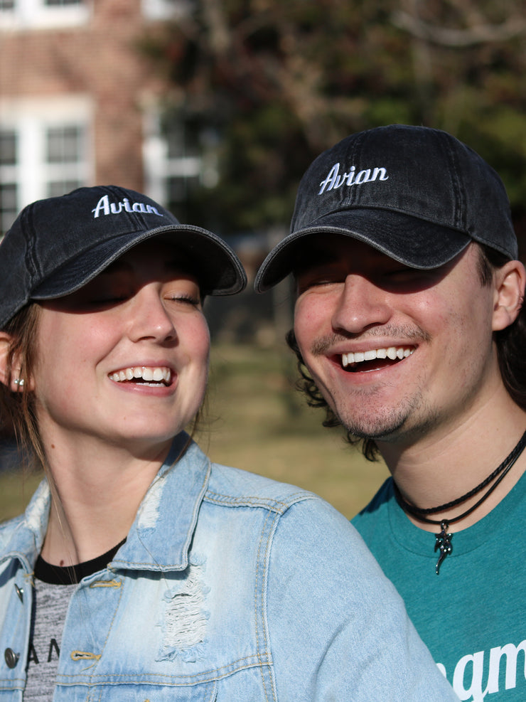 Classic Avian Vintage Baseball Cap Black on Girl and Guy