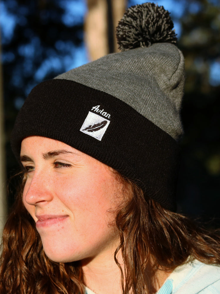 Feather Box Logo Stocking Cap with Pom Pom Close UP