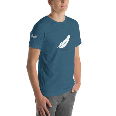 Falling Feather Logo T-Shirt (Unisex) - Avian Apparel #color_heather-deep-teal