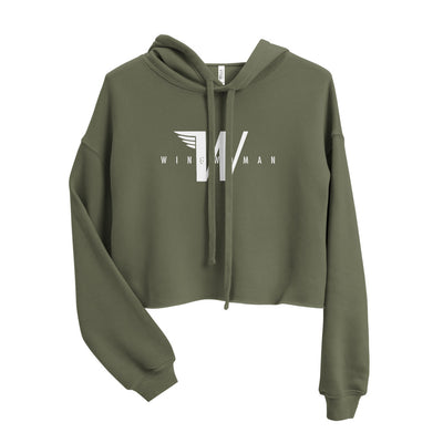 Flying W - Wingwoman Cropped Hoodie - Avian Apparel #color_military-green