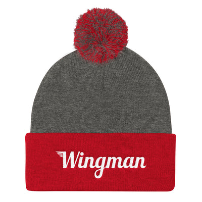 The Wingman Stocking Cap with Pom Pom - Avian Apparel #color_dark-heather-grey-red