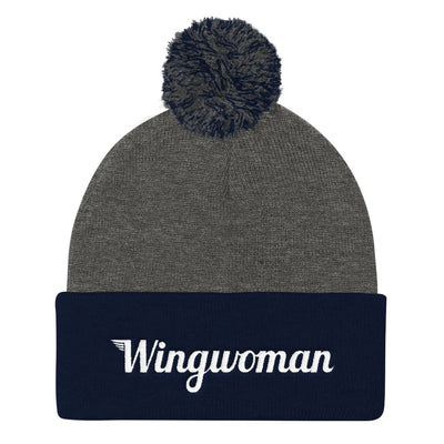 The Wingwoman Stocking Cap with Pom Pom - Avian Apparel #color_dark-heather-grey-navy