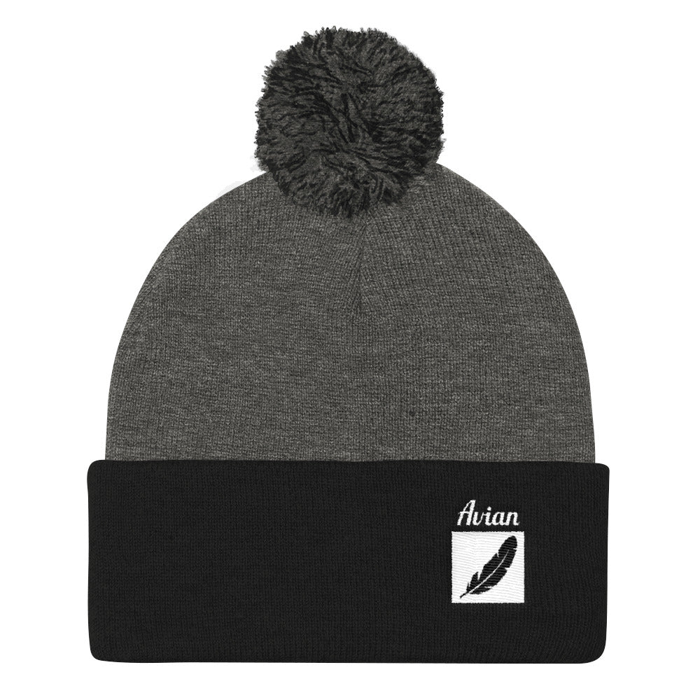 Feather Box Logo Stocking Cap with Pom Pom