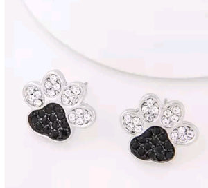 Rhinestone Dog Paw Earrings
