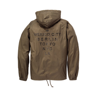 102091-382 | CITIES HD COACHES JACKET | OLIVE/BLACK