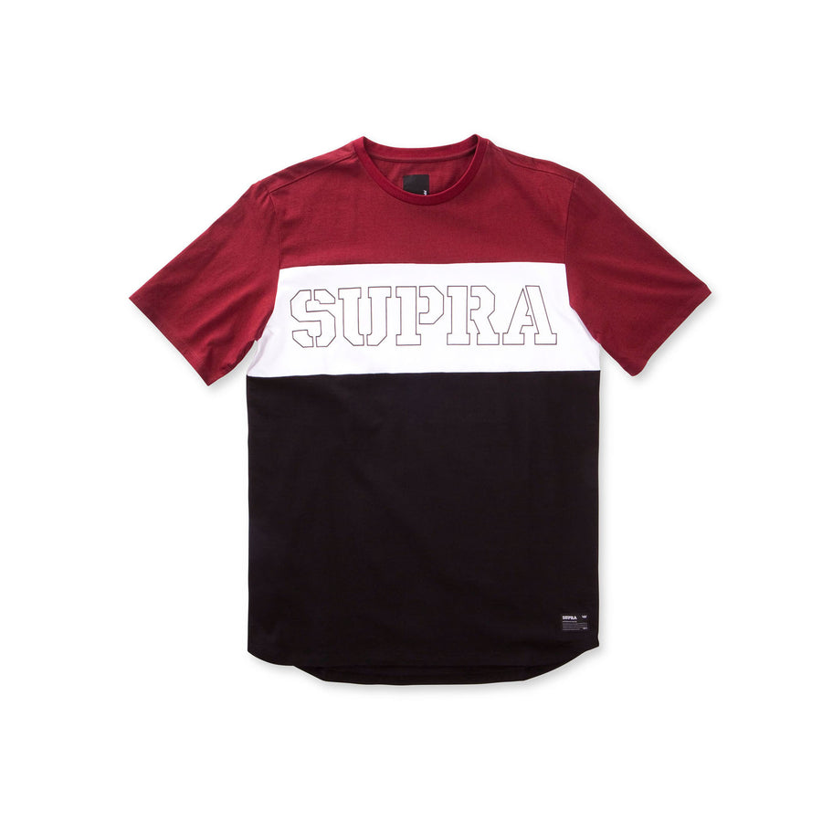 103570-609 | TRI COLOR BLOCK SS TEE | BURGUNDY